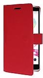 LG G4 Stylus Cüzdanlı Yan Kapaklı Kırmızı Deri Kılıf