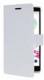 LG G4 Stylus C�zdanl� Yan Kapakl� Beyaz Deri K�l�f