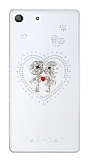 Sony Xperia M5 Love Taşlı Şeffaf Siyah Kılıf
