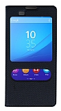 Sony Xperia M5 Pencereli İnce Kapaklı Siyah Kılıf