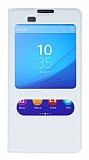 Sony Xperia M5 Pencereli İnce Kapaklı Beyaz Kılıf