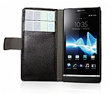 Sony Xperia S Standl� C�zdanl� Siyah Deri K�l�f