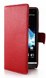 Sony Xperia S C�zdanl� Yan Kapakl� K�rm�z� Deri K�l�f