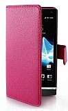 Sony Xperia S C�zdanl� Yan Kapakl� Pembe Deri K�l�f