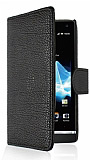 Sony Xperia S C�zdanl� Yan Kapakl� Siyah Deri K�l�f