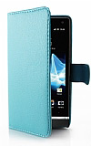 Sony Xperia S C�zdanl� Yan Kapakl� Mavi Deri K�l�f
