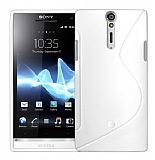 Sony Xperia S Desenli Beyaz Silikon K�l�f