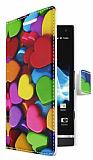 Sony Xperia S Kalp Desenli C�zdanl� Yan Kapakl� K�l�f