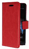 Sony Xperia S Standlı Cüzdanlı Kırmızı Deri Kılıf