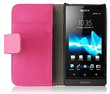 Sony Xperia Sola Standl� C�zdanl� Pembe Deri K�l�f