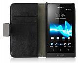 Sony Xperia Sola Standl� C�zdanl� Siyah Deri K�l�f