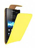 Sony Xperia Sola Sarı Kapaklı Deri Kılıf