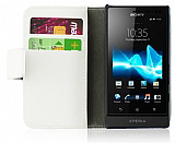 Sony Xperia Sola Standl� C�zdanl� Beyaz Deri K�l�f