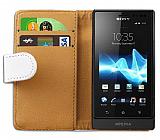 Sony Xperia Sola Yan C�zdanl� Beyaz K�l�f