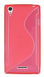 Sony Xperia T3 Desenli Şeffaf Pembe Silikon Kılıf