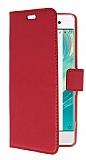 Sony Xperia XA Cüzdanlı Yan Kapaklı Kırmızı Deri Kılıf