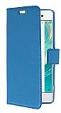 Sony Xperia XA Cüzdanlı Yan Kapaklı Mavi Deri Kılıf