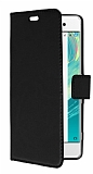 Sony Xperia XA Cüzdanlı Yan Kapaklı Siyah Deri Kılıf