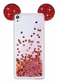 Sony Xperia XA Sulu Kırmızı Taşlı Kulaklı Kılıf