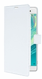 Sony Xperia XA Ultra Cüzdanlı Yan Kapaklı Beyaz Deri Kılıf