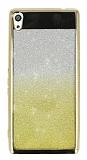 Sony Xperia XA Ultra Simli Parlak Gold Silikon Kılıf