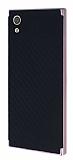 Eiroo Carbon Hybrid Sony Xperia XA1 Rose Gold Kenarlı Karbon Siyah Silikon Kılıf