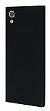 Eiroo Carbon Hybrid Sony Xperia XA1 Siyah Kenarlı Karbon Siyah Silikon Kılıf