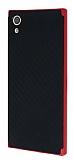 Eiroo Carbon Hybrid Sony Xperia XA1 Kırmızı Kenarlı Karbon Siyah Silikon Kılıf