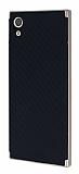 Eiroo Carbon Hybrid Sony Xperia XA1 Gold Kenarlı Karbon Siyah Silikon Kılıf