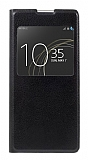 Sony Xperia XA1 Pencereli İnce Yan Kapaklı Siyah Kılıf