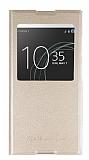 Sony Xperia XA1 Plus Pencereli İnce Yan Kapaklı Gold Kılıf