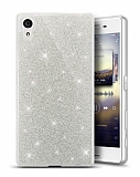 Sony Xperia XA1 Plus Simli Silver Silikon Kılıf