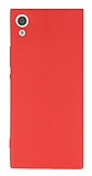 Sony Xperia XA1 Ultra Deri Desenli Ultra İnce Kırmızı Silikon Kılıf