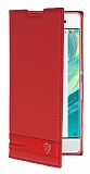 Sony Xperia XA1 Ultra Gizli Mıknatıslı Kırmızı Deri Kılıf
