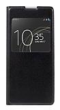 Sony Xperia XA1 Ultra Pencereli İnce Yan Kapaklı Siyah Kılıf