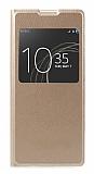 Sony Xperia XA1 Ultra Pencereli İnce Yan Kapaklı Gold Kılıf