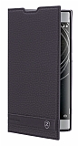 Sony Xperia XA2 Gizli Mıknatıslı Yan Kapaklı Siyah Deri Kılıf