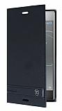Sony Xperia XZ Premium Gizli Mıknatıslı Yan Kapaklı Siyah Deri Kılıf