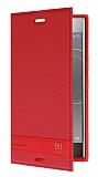 Sony Xperia XZ Premium Gizli Mıknatıslı Yan Kapaklı Kırmızı Deri Kılıf