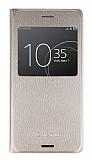 Sony Xperia XZ Premium Pencereli İnce Yan Kapaklı Gold Kılıf