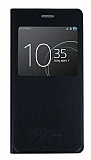 Sony Xperia XZ Premium Pencereli İnce Yan Kapaklı Siyah Kılıf