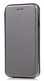 Sony Xperia XZ1 Curve Manyetik Kapaklı Silver Deri Kılıf