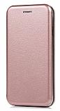 Sony Xperia XZ1 Curve Manyetik Kapaklı Rose Gold Deri Kılıf