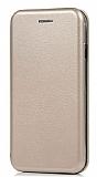 Sony Xperia XZ1 Curve Manyetik Kapaklı Gold Deri Kılıf