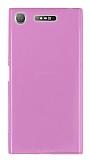 Sony Xperia XZ1 Süper İnce Şeffaf Pembe Silikon Kılıf