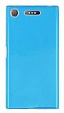 Sony Xperia XZ1 Süper İnce Şeffaf Mavi Silikon Kılıf