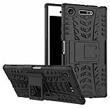 Sony Xperia XZ1 Ultra Süper Koruma Standlı Siyah Kılıf
