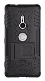 Sony Xperia XZ2 Süper Koruma Standlı Siyah Kılıf