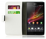 Sony Xperia Z Standl� C�zdanl� Beyaz Deri K�l�f