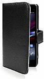 Sony Xperia Z1 Compact Cüzdanlı Yan Kapaklı Siyah Deri Kılıf